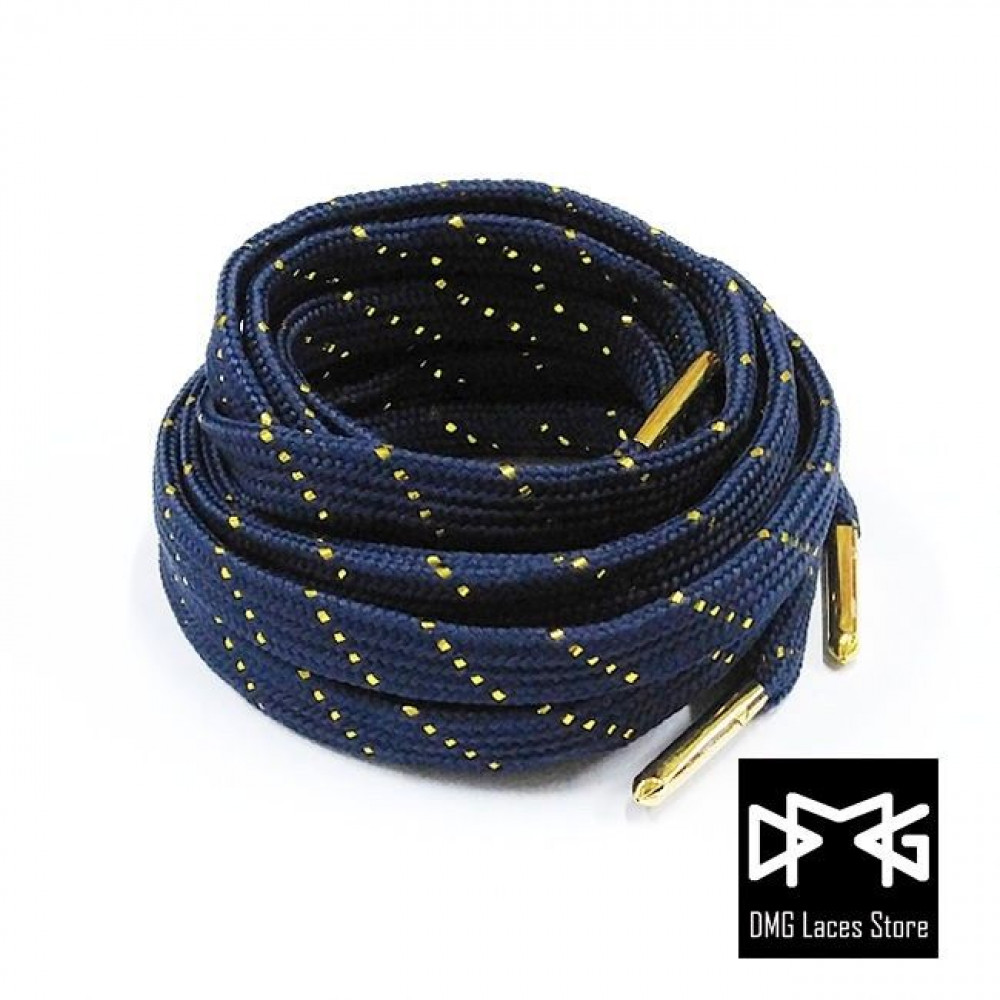 Gold Thread Flat Laces ( Navy )