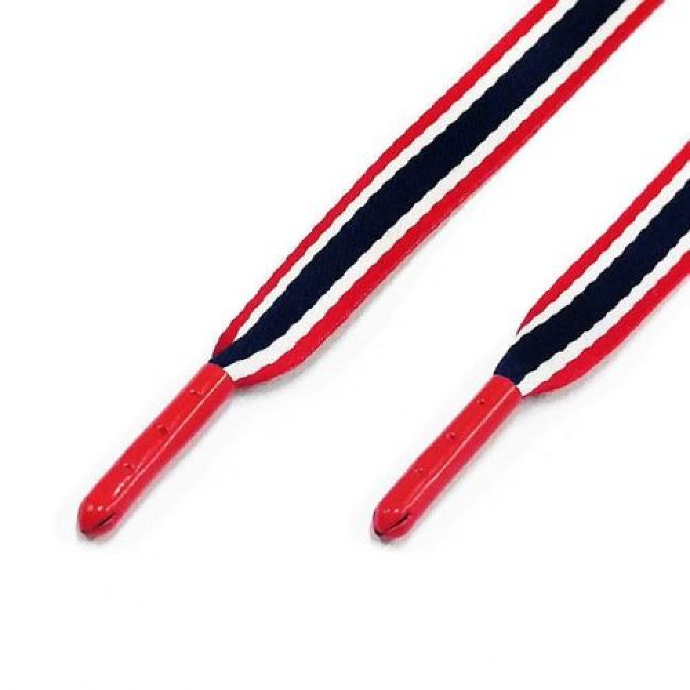 Flat Laces ( Red / Navy / White Stripe )